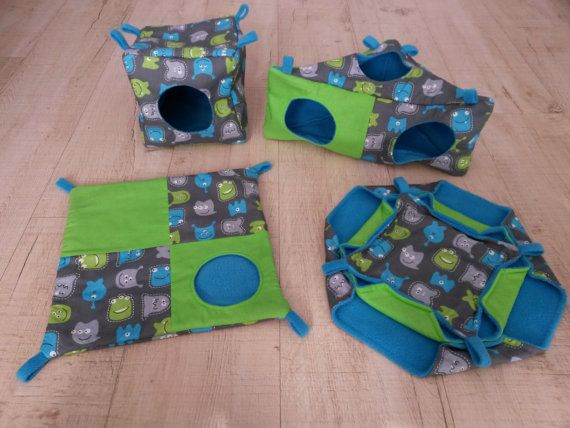 Rat hammocks, cage accessories, cube, corner house, peek-a-boo, triple hammock, cotton with ghousts, green and blue, fleece, cotton