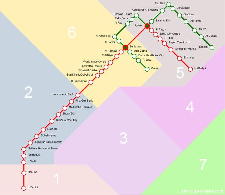 Dubai metro map/ Branded metro stations names