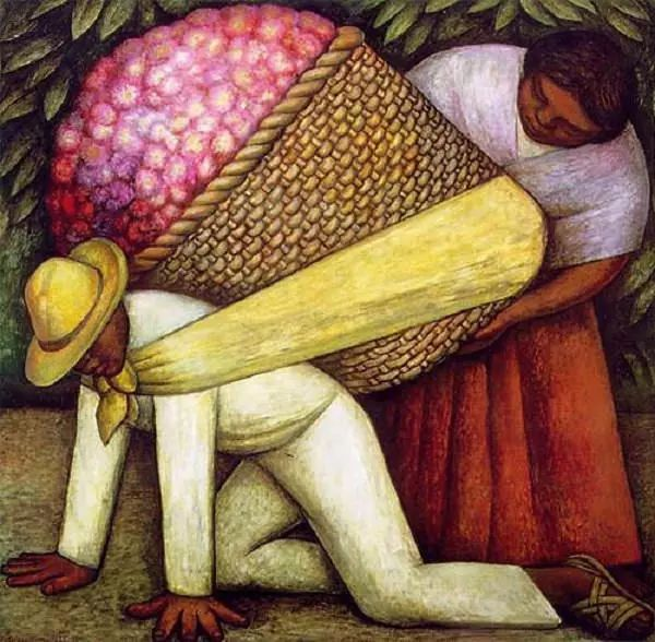 In 1935, Diego Rivera masterfully created The Flower Carrier (known in its original language as Cargador de Flores). Like many of Rivera's paintings, The Flower Carrier imparts simplicity, yet exudes much symbolism and meaning. The vibrant colors are rubbed into the masonite, a most common method for painting on hard surfaces.