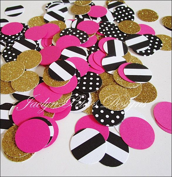 Party Confetti, Black, Gold Glitter, Hot Pink, Stripes, Dots, Bridal Shower Decor, Bachelorette Supply, Birthday Table Scatter,  200 Piece by JaclynPetersDesigns on Etsy https://www.etsy.com/listing/235770070/party-confetti-black-gold-glitter-hot