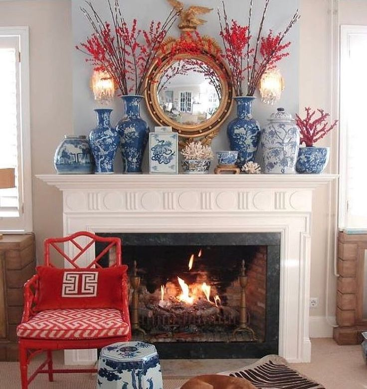 """Love the blue and red! the chinoiserie collective (@thechinoiseriecollective) on Instagram: """"Love mixing my favorite blue and white with a pop of color. This fireplace mantel by…"""""""
