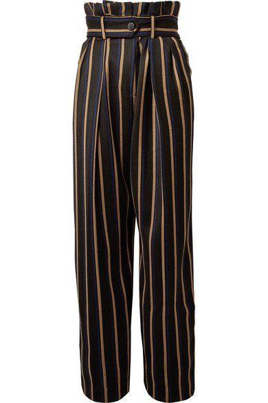 Pantalon Droite De La Jambe Rayée Wenyana Laine Mélangée - Noir Par Malene Birger uxZ3agrGVA