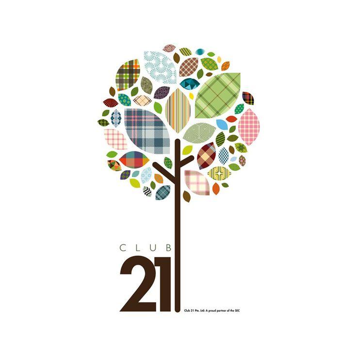 """""""Club 21"""" Collaged tree leaf logo design"""