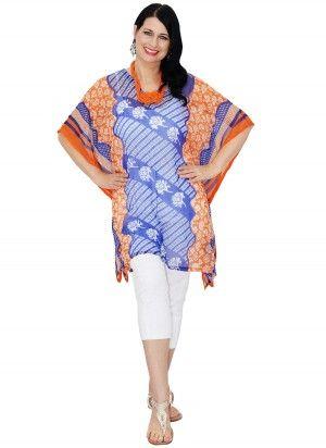 Dulce Mid Length Blue & Orange Print Kaftan Top  AUS $24.95