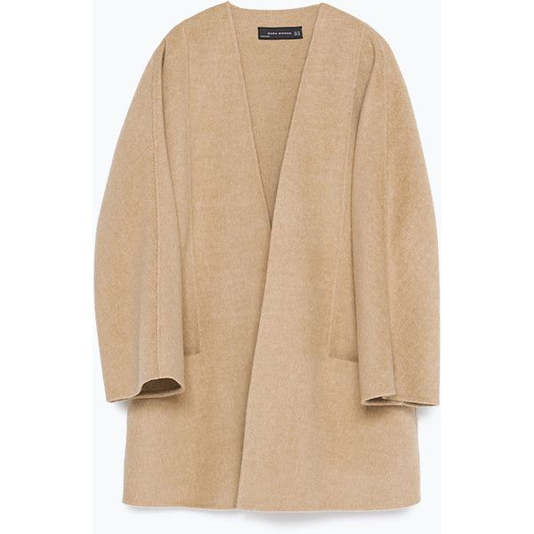 Zara Hand Made Jacket (715 PLN) ❤ liked on Polyvore featuring outerwear, jackets, camel, camel jacket, zara jacket, beige jacket and shell jacket