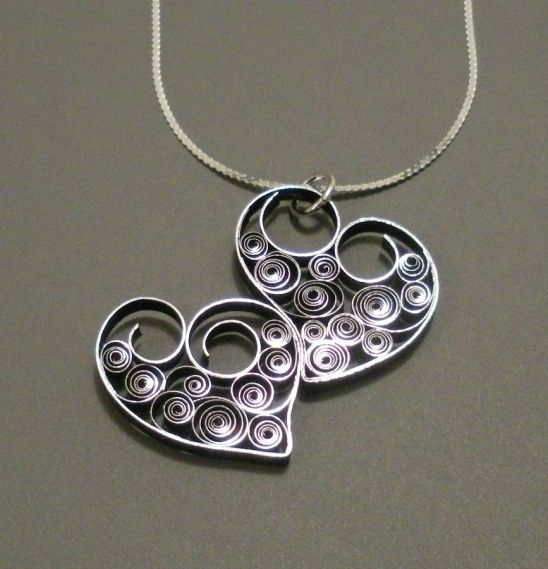 quilled paper jewelry pensNTS   Two Hearts As One - Quilled Necklace