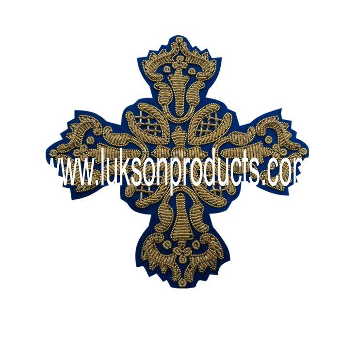 Hand Made Golden Thread Embroidery Cross