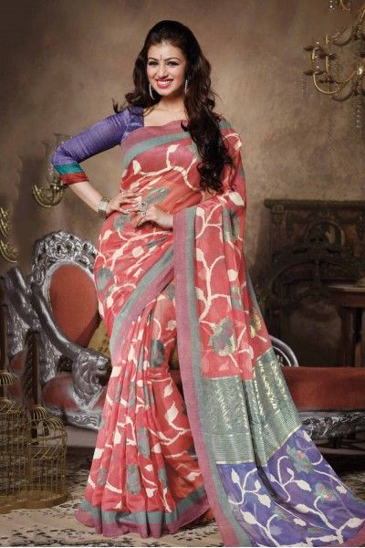 Bollywood Ayesha Takia Bhagalpuri Silk Designer Saree In Light Pink Colour