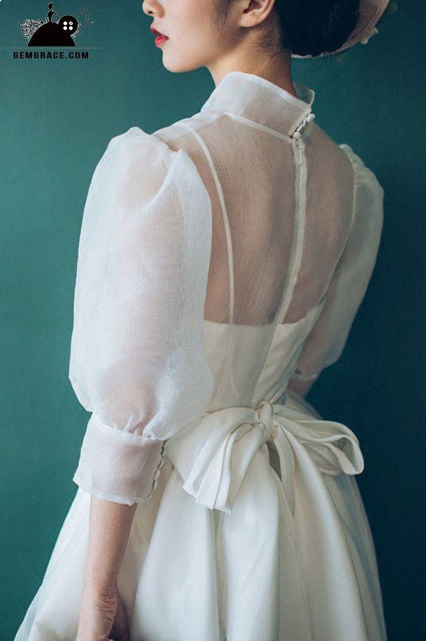 Only $118.99, Short Wedding Dresses Vintage Chic Tea Length Bubble Sleeves Weddd…