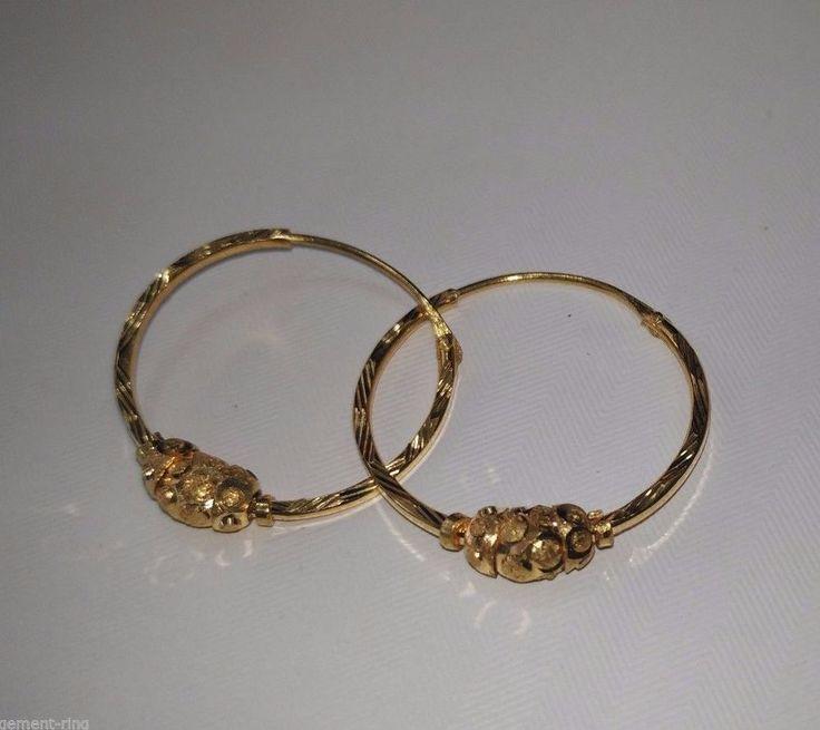 22k Solid Yellow Gold Hoop Earrings Diamond Cut Design 22 Karat 2.52Grams 2x23MM #Handmade #Hoop