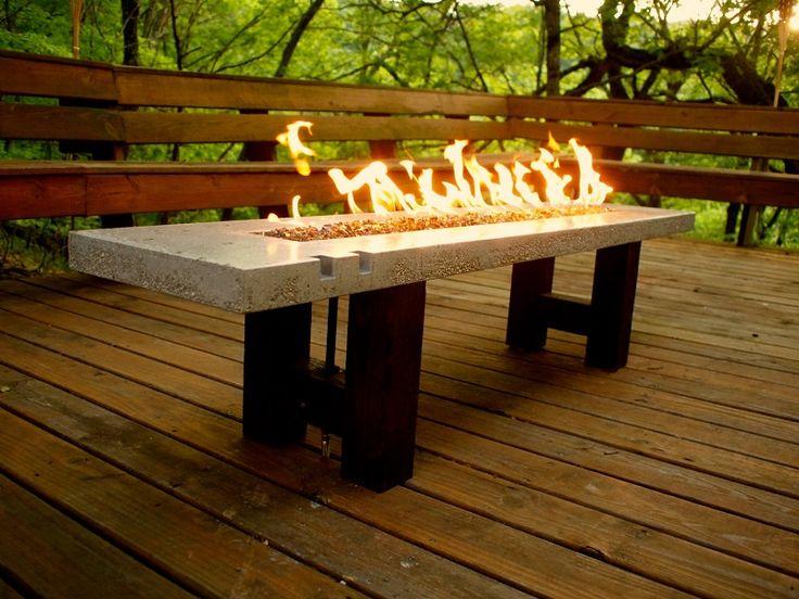 Rectangular Granite Outdoor Propane Fire Pit On A Wooden Deck