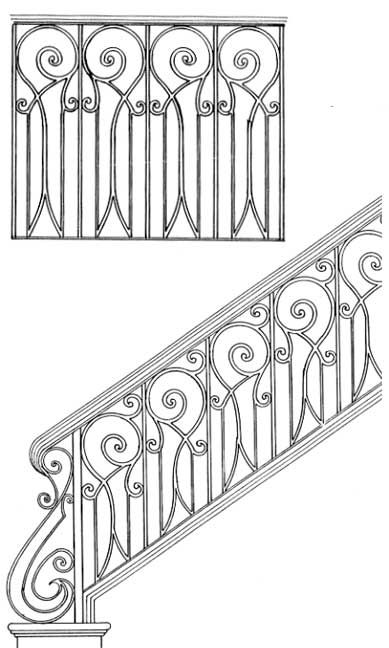Stair Railing Designs ISR029 Hand Rail | Scroll Design | Hand Railing