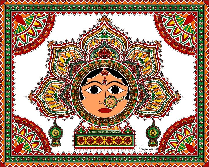 """Goddess in Madhubani / Mithila Painting.  In traditional Mithila this painting is also known as painting of """"Bhagawati"""" ( meaning """"Devi"""" or """"Goddess"""" )  Mode of Creation : Digital Painting, Artist :Nupur Nishith"""