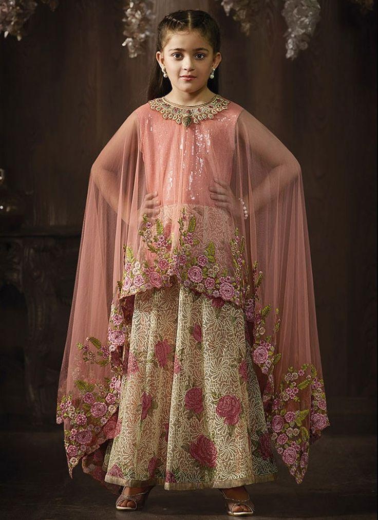Peach Cream Fancy Fabric Girls Salwar Kameez