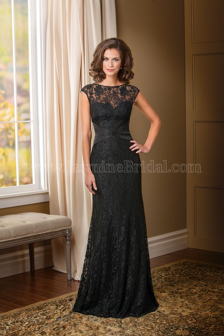 Jasmine Bridal Mother of the Bride/Groom Dress Jade Couture Style K178010 in Black. An elegant option to turn heads at your next special occasion. This amber satin chiffon gown has beautiful lace and beading detail throughout the dress, from the jewel neckline to the hem of the A-line skirt.
