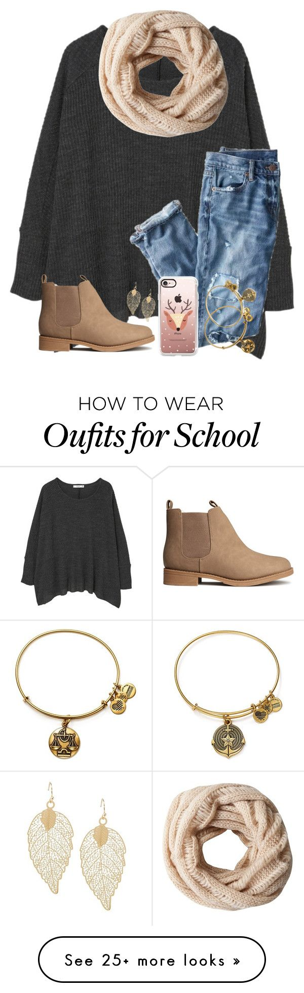 """""""LAST DAY OF SCHOOL BEFORE BREAK!!!"""" by twaayy on Polyvore featuring MANGO, J.Crew, A.Forty Three, H&M, Casetify and Alex and Ani"""