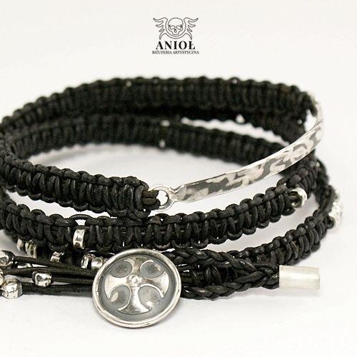 NOMADA (black strap, cross) - bransoleta męska / Anioł / Biżuteria / Dla mężczyzn