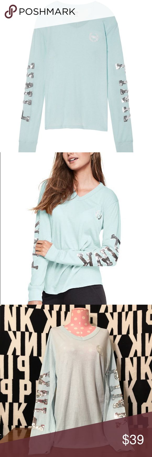 VS PINK BLING MINT LONG SLEEVE V NECK RINGER TEE ❌PRICE IS FIRM❌(UNLESS BUNDLED) ✨✨⭐️bundle discount is taken automatically⭐️✨✨ NEW IN PACKAGE OR NEW WITH TAG ✨TRUE TO SIZE ✅AUTHENTIC✅ ❌NO TRADES❌ PINK Victoria's Secret Tops Tees - Long Sleeve