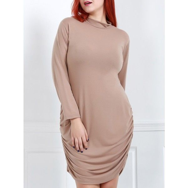 Sexy Turtle Neck Long Sleeve Solid Color Plus Size Women's Dress ($17) ❤ liked on Polyvore featuring plus size women's fashion, plus size clothing, plus size dresses, long sleeve turtleneck dress, sexy brown dress, turtleneck top and brown turtleneck