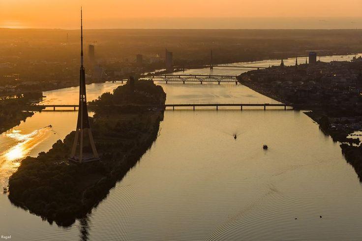 Beautiful sunset at Zaķusala in Riga, Latvia.