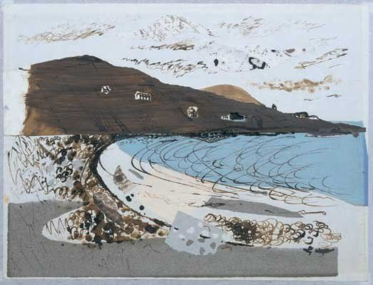 JOHN PIPER BEACH AT DONEGAL, c1937 watercolour, collage and mixed media 15 1/2 x 20 1/2 inches 39.3 x 52 cm