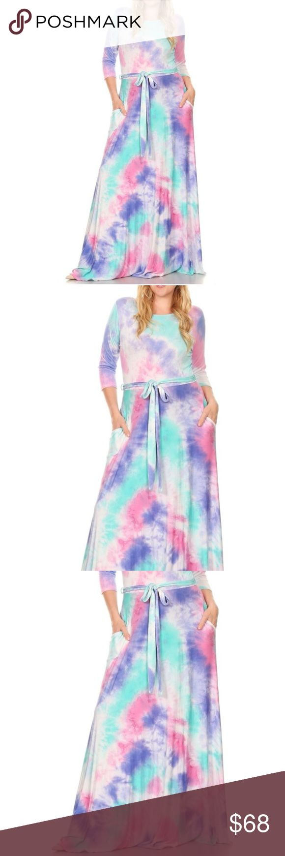 "Plus Tie Dye Aqua Blue Pink Jersey Maxi Dress Tie Dye Maxi Dress. Boat neckline and 3/4 sleeves, sash belt at elastic waist and a sweep maxi skirt with side pockets. Made of soft stretchy rayon jersey fabric. Made in USA. Please note that each dress has a unique tie dye pattern that may differ from the pictured dress. Brand New.  Model in pictures is 5'11"" and her measurements are 34C x 33 x 41  Size 1X 14/16: Bust 36-41 Waist 32-35 Hips 40-43 Size 2X 18/20: Bust 42-45 Waist 36-39 Hips 44-47…"