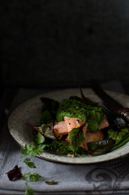 Slow Oven Cooked Salmon with Dill Pesto