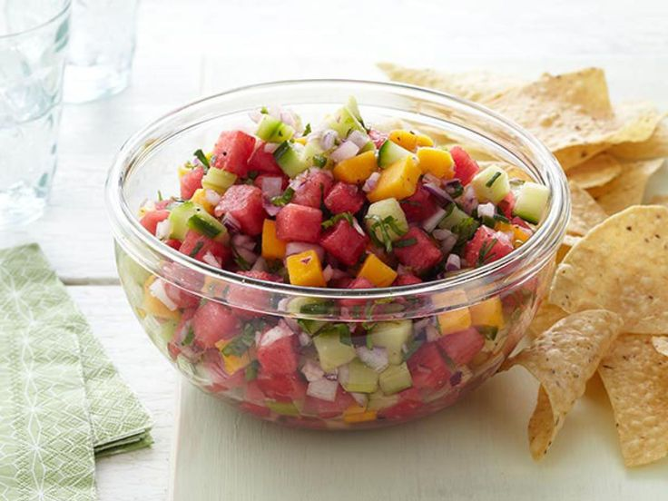 if that sais that is a snak that feeds a family of five, be very leary. Watermelon Salsa recipe from Trisha Yearwood via Food Network