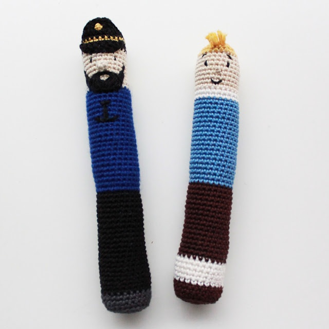 Captain Haddock and Tintin for the baby - DIY in Danish
