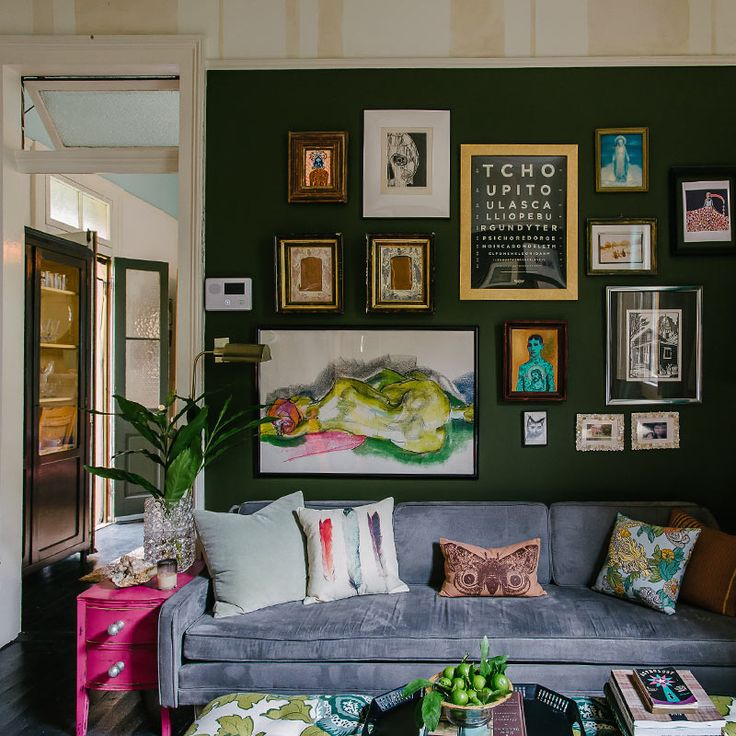 Gallery wall, colour, and pattern. 'Jolts of Color Restart an Old New Orleans Home', on Design*Sponge.