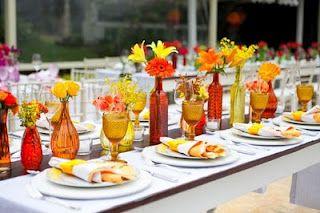 Solteiras-Noivas-Casadas: Decoração do Casamento: Laranja, Amarelo e Vermelho 1
