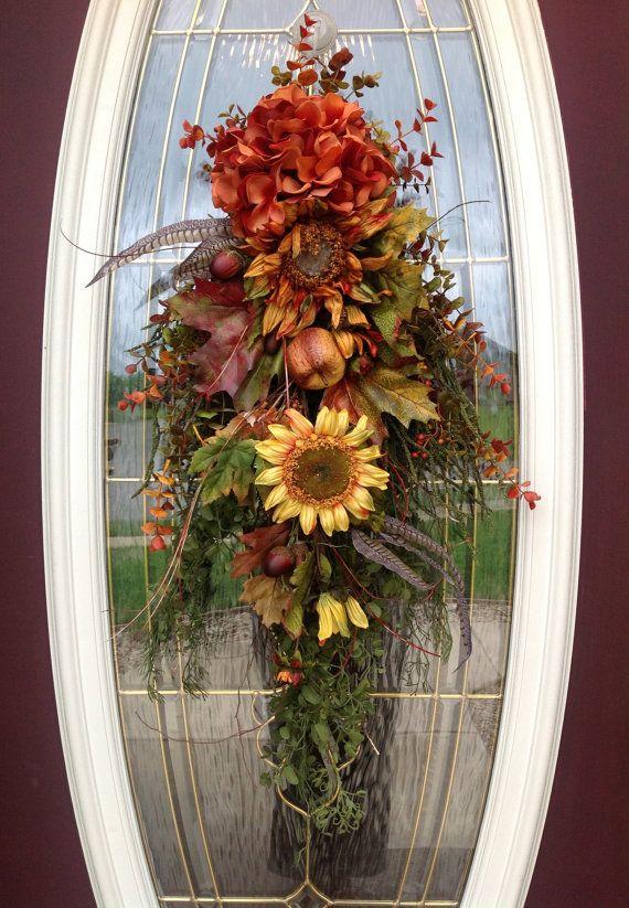 Fall Wreath Autumn Wreath Teardrop Vertical Door Swag Decor.. Mystic Autumn  & 523 best Door Swags images on Pinterest | Christmas ideas ... pezcame.com