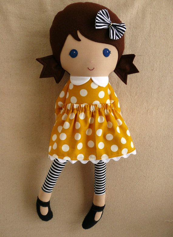 Fabric Doll Rag Doll Girl in Golden Braids by rovingovine on Etsy