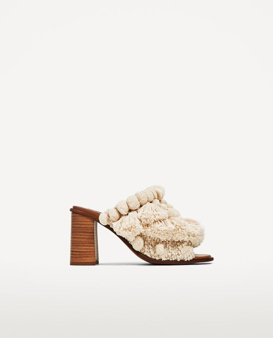 Image 2 of HIGH HEEL SLIDES WITH POMPOMS from Zara