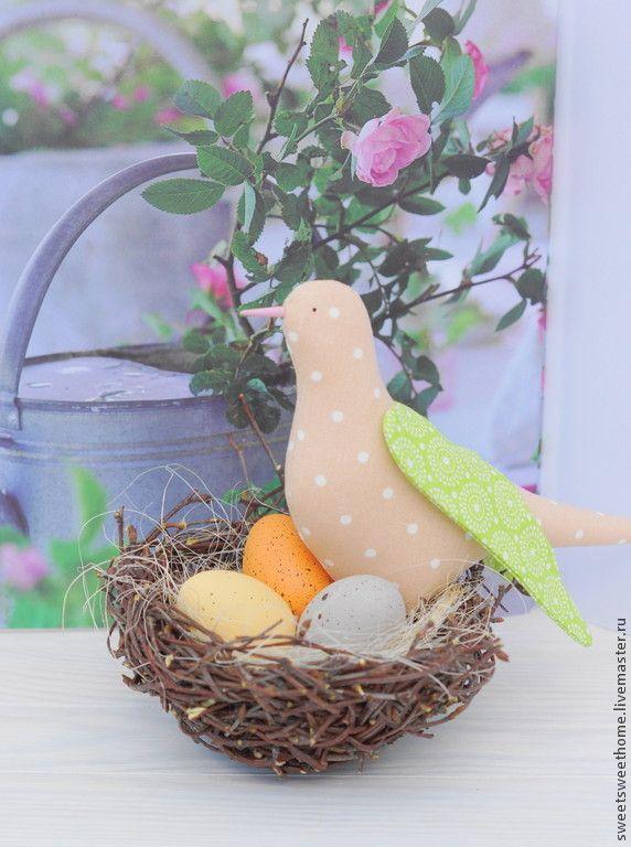 Весна - бежевый,птичка,гнездо,гнездышко,Пасха,пасхальный декор,пасхальный подарок