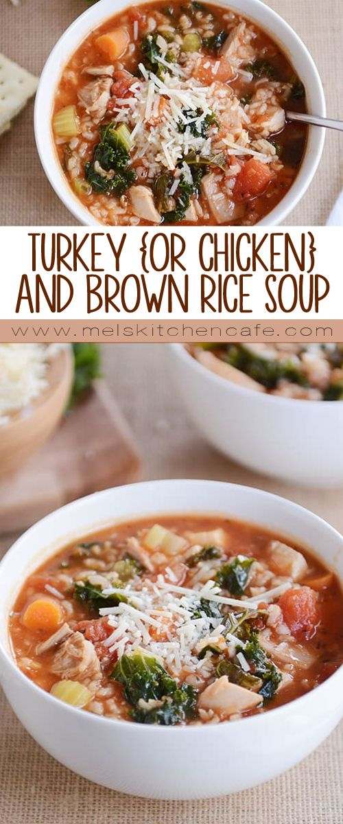 This turkey and brown rice soup (with kale and Parmesan cheese!) is simple, healthy, and delicious! Bonus: you can easily sub in chicken OR ground turkey. Instant Pot and stovetop instructions included!
