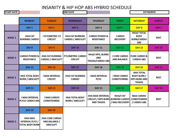 Insanity - Hip Hop Abs Hybrid Schedule