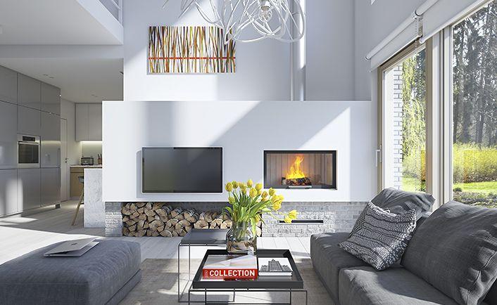 Dostępny 4 - wizualizacja 4 - mały nowoczesny dom z garażem i antresolą