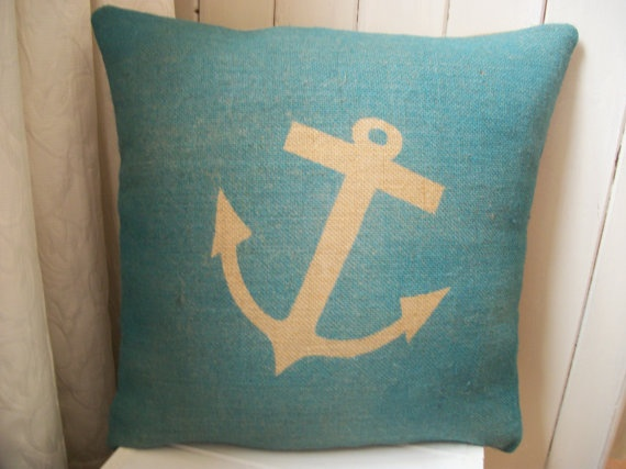 need these for my couch, would go perfectly :)Hands Prints, Anchors Pillows, Happy Birthday, Prints Blue, Beach House, Hessian Cushions, Blue Anchors, Nautical Anchor, Anchors Cushions