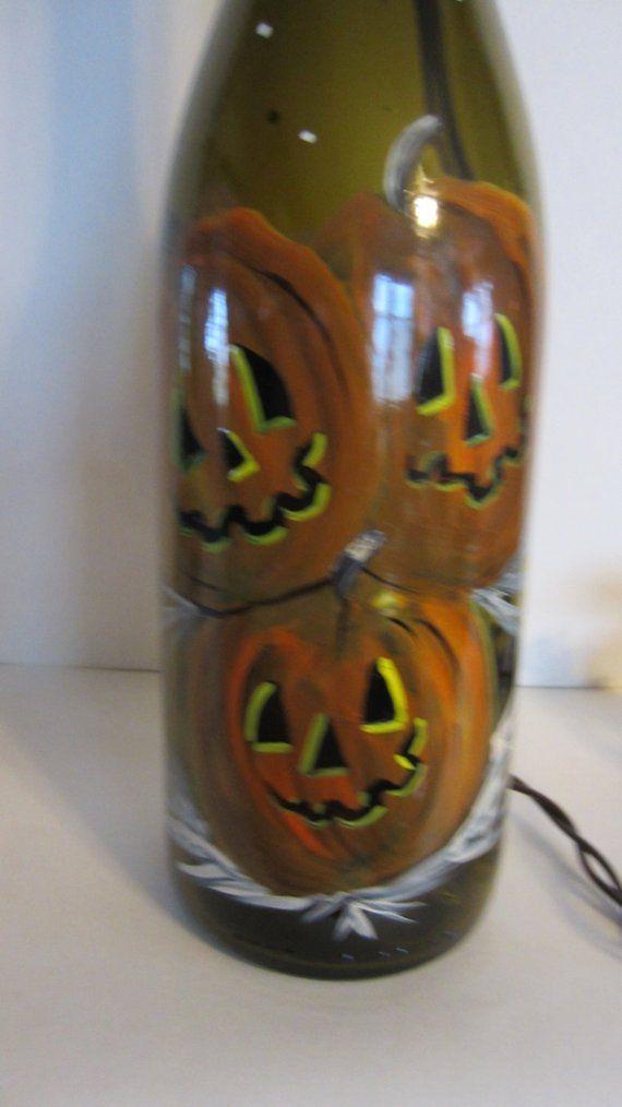 Hand Painted Jack O Lantern Lighted Wine Bottle