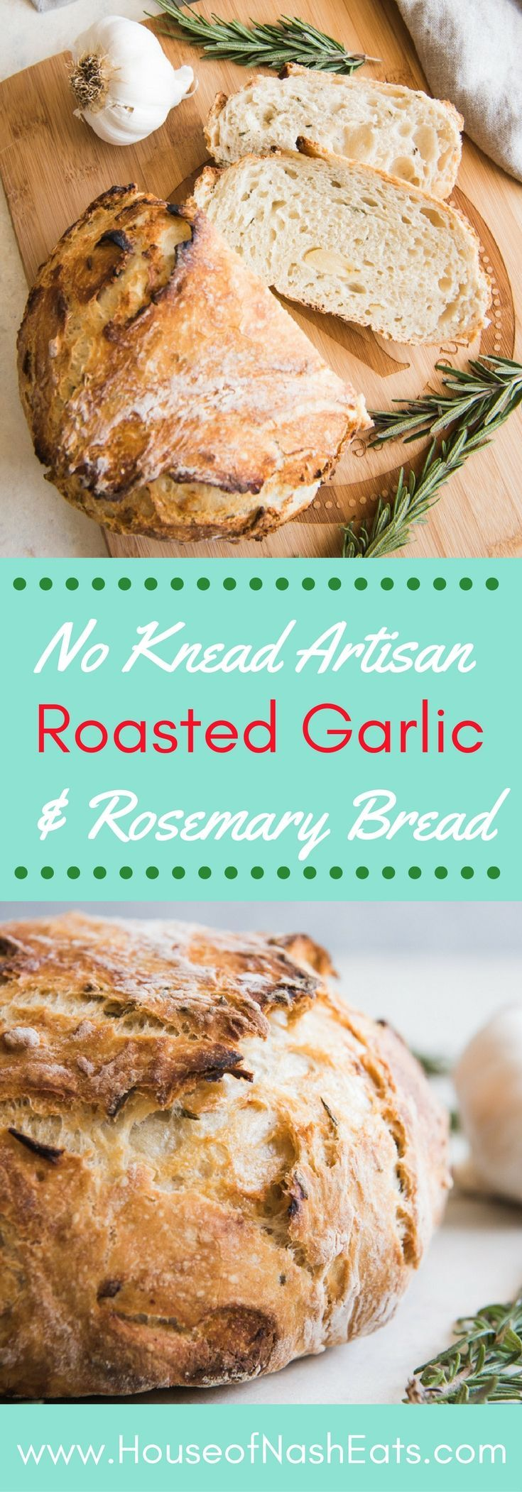 Roasted Garlic & Rosemary No Knead Artisan Bread has gorgeous, golden brown crusty exterior and a soft, airy texture inside and is loaded with flavor from buttery, roasted garlic and fresh rosemary! It's such an easy rustic bread recipe that you will wond
