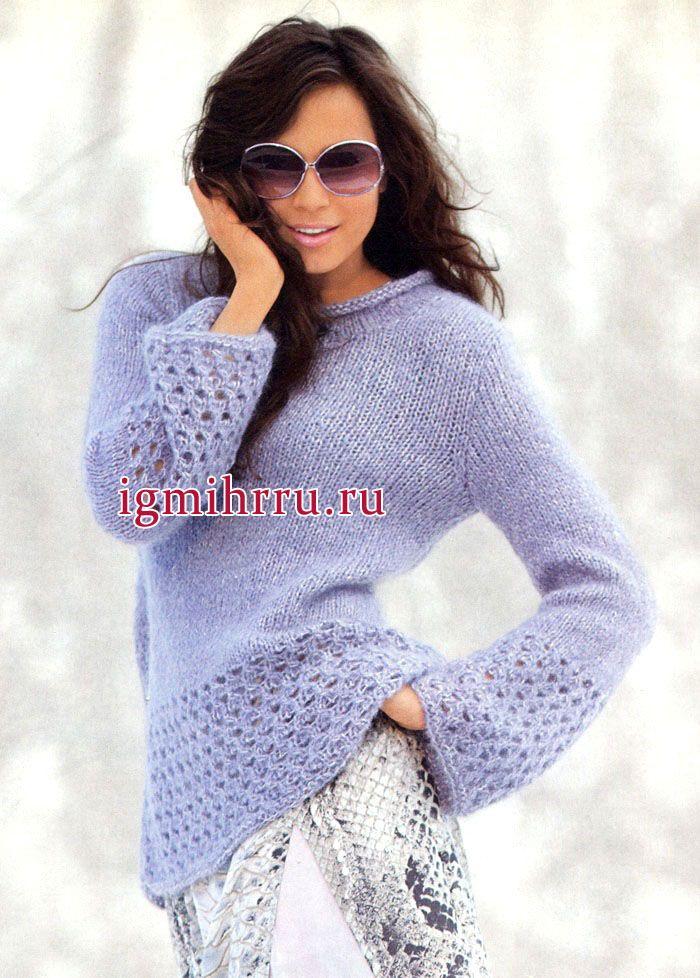 Мягкий мохеровый пуловер сиреневого цвета, с ажурными бордюрами. Вязание спицами