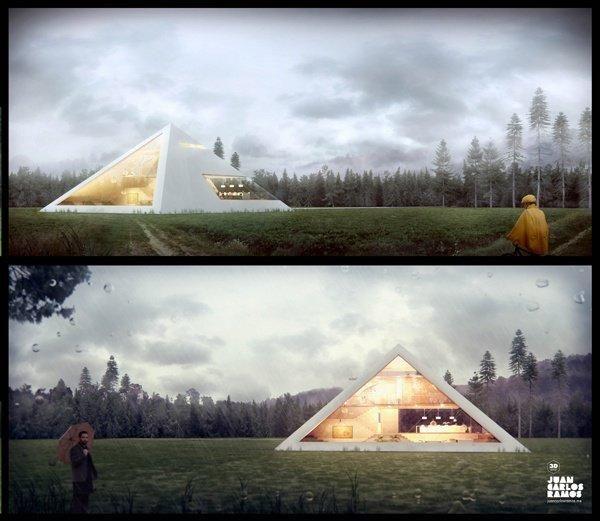 House pyramid in the rain