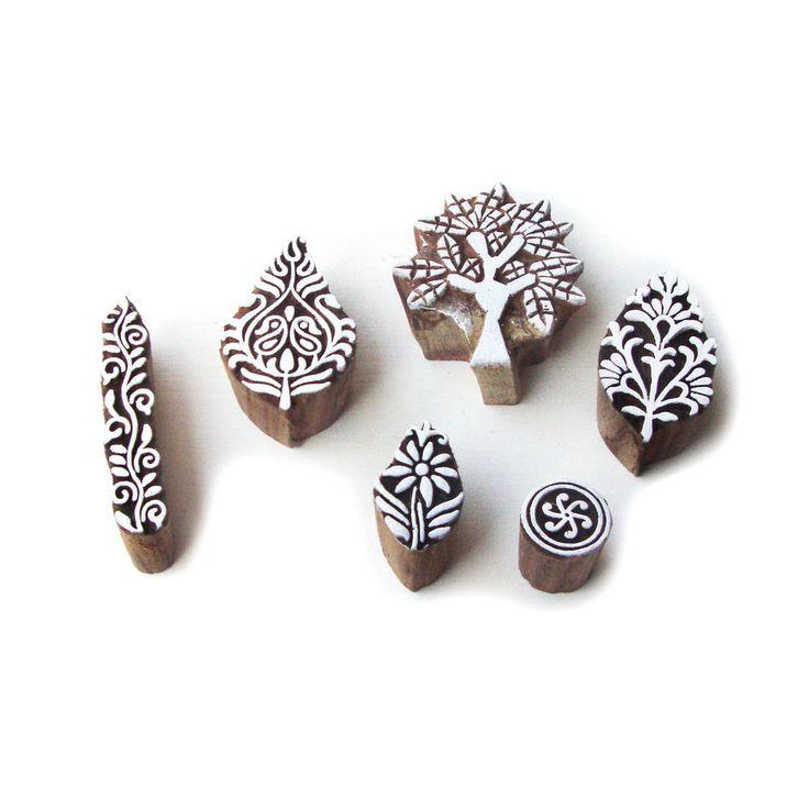 Exclusive Tree and Leaf Designs Wood Print Blocks (Set of 6) #RoyalKraft…