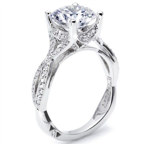 Simply Tacori Collection Fancy Twist Lace Design Pave Diamond Engagement Ring