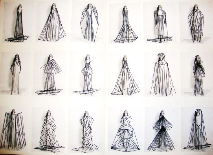 Fashion Sketchbook - stitched dress sketches with strong architectural lines - fashion design portfolio // Abbie Ridler