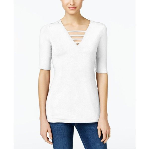 Inc International Concepts Petite Strappy V-Neck Top, ($40) ❤ liked on Polyvore featuring tops, bright white, v-neck pullover, sweater pullover, v-neck tops, spaghetti-strap tops and pullover top