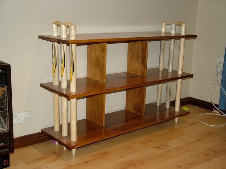 Side view of cricket bookshelves