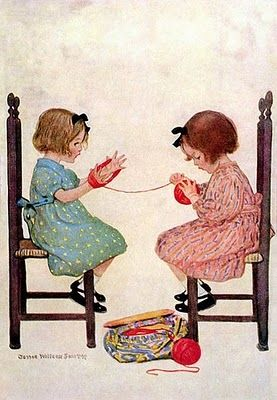 Jessie Wilcox Smith's illustration. These two young girls sitting on early ladderback chairs are concentrating with all their might because when your hands are small tasks like this are very hard.