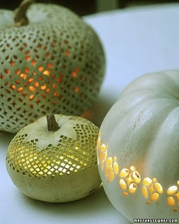 Punch pumpkins - could use drill for round holes in a doily design